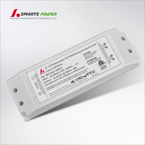 Conducteur mené dimmable de 1200ma 48w 0-10v / pwm