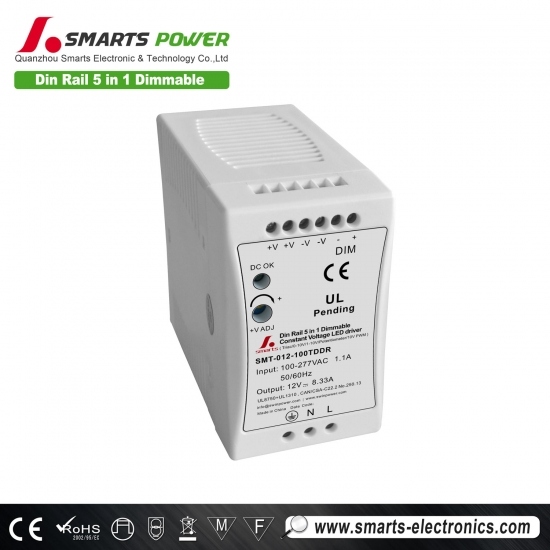 ul listed din rail 5 in 1 dimmable constant voltage led driver