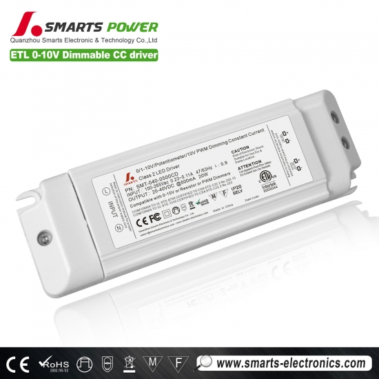 Pilote led dimmable 500ma 20w 0-10v / pwm