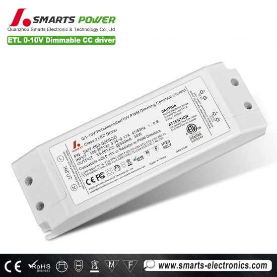 Conducteur mené dimmable de 500ma 30w 0-10v / pwm